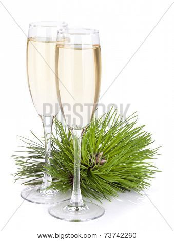 Champagne glasses and firtree. Isolated on white backgound