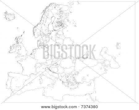 Europe Map Detailed Keyline
