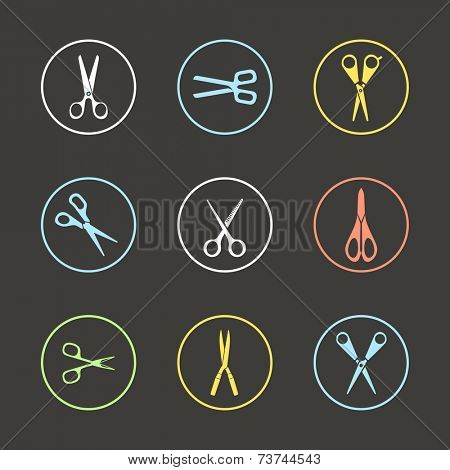 Different types of scissors. Design elements