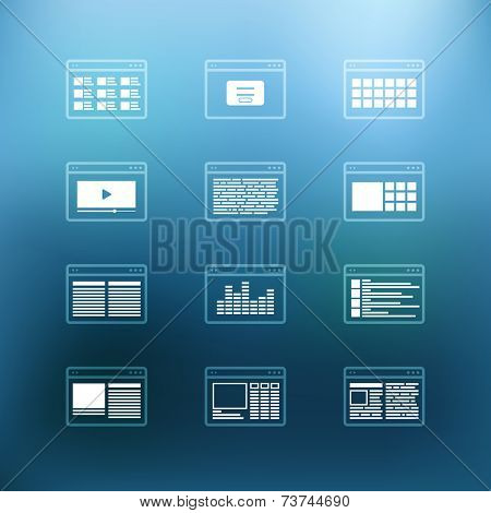 White browser windows clip-art on color background. Design elements