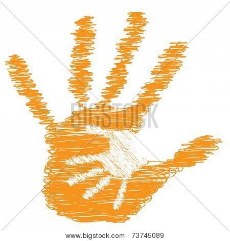 Concept or conceptual cute drawing orange paint hands of mother and child isolated on white background