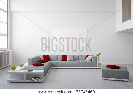 Big couch furniture in living room of bright modern loft