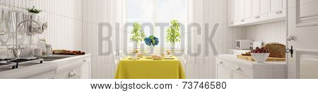 Bright white kitchen panorama with set breakfast table