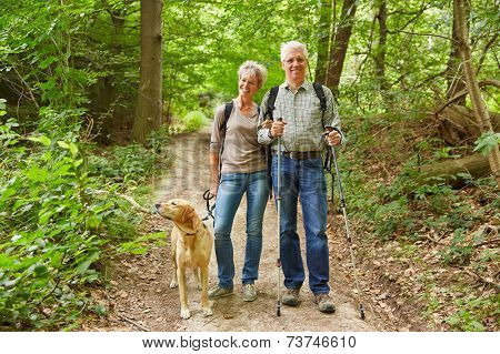 Smiling senior couple on a hike walking with a dog in a forest