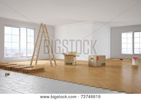 Renovation of a room with laying out parquet and painting walls