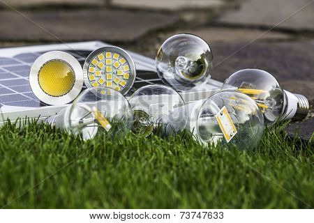 Various Bulbs E27, Gu10  And Solar Panel On The Grass