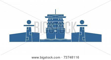 Cruise Ship In A Lock