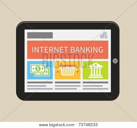 Internet banking, online purchasing and transaction. Flat vector illustration.