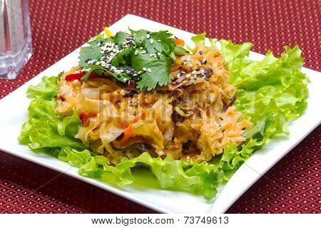 Coleslaw, Green Leaf Lettuce And Sesame Seeds, Selective Focus. Table Setting. Creative Cuisine.
