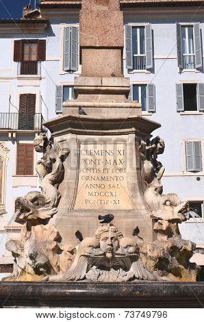 Beautiful Fontana del Pantheon on Piazza della Rotonda in Rome, Italy