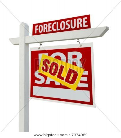 Sold Foreclosure Real Estate Sign Isolated - Right