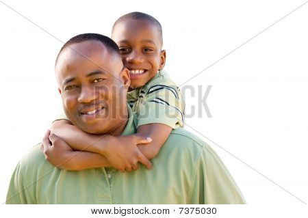 Happy Man And Child Isolated On White