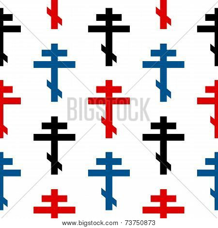 Religious Orthodox Cross Symbol Seamless Pattern