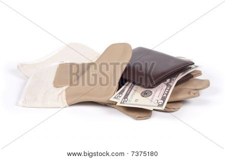 Glove, Purse, Money Isolated On A White Background Shadow Below.