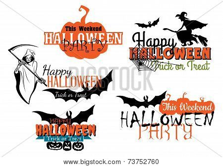 Halloween party designs set