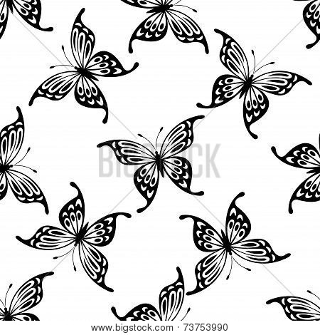 Flying butterflies seamless background pattern