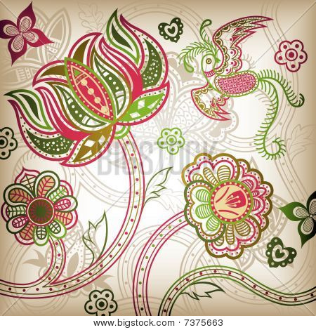 Quetzal and Floral