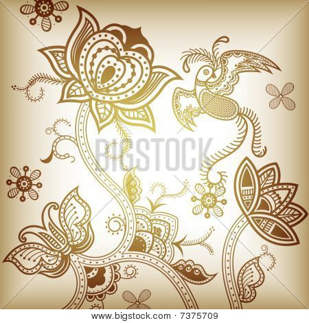Floral Abstract and Bird
