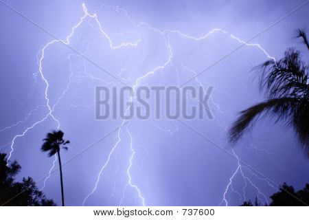 Lightning bolts monsoon storm