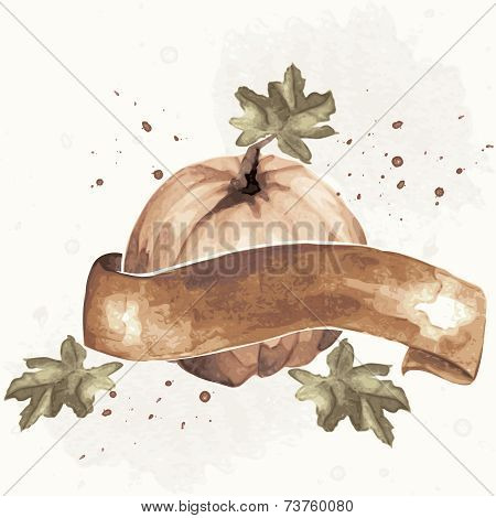 Vintage sepia watercolor pumpkin illustration