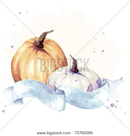 Colorful watercolor thanksgiving illustration