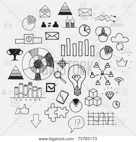 Hand draw doodle elements business scetches Concept infographic finance analytics learnings progress