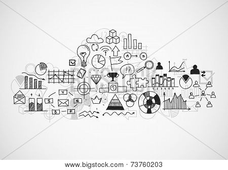 Hand draw buseness sketches doodle infographic elements, chart graph. Concept bank cloud data financ