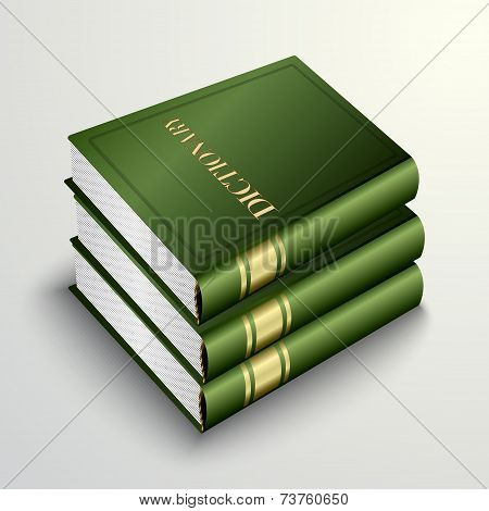 Vector green dictionary book pile