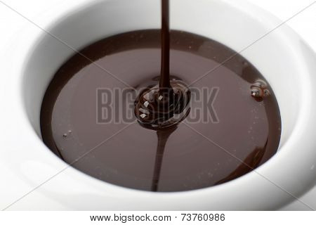 Melted chocolate flow, close-up