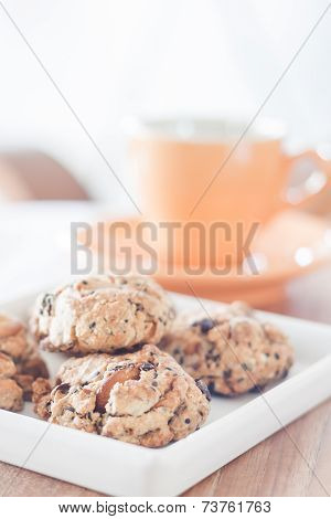 Healthy Cookies On White Plate With Coffee Cup