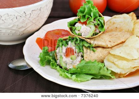 Tuna Salad Wraps, Chips And Tomato Soup.