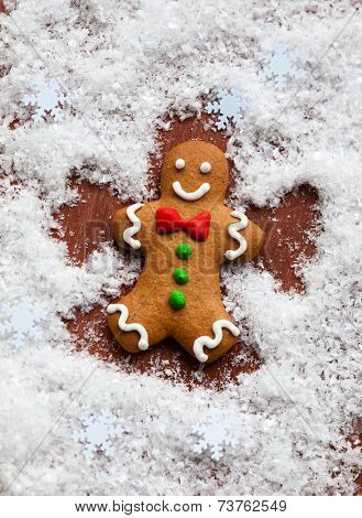 Gingerbread Man Snow Angel