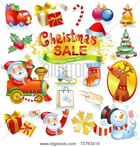 Christmas sale - collection of vector icons and illustrations. For banners, holiday backgrounds, decorations.