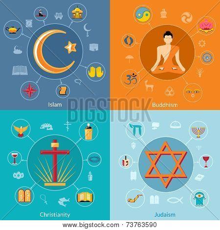 Religions flat set