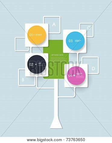 Infographic  Background Design With White Squares And Circles