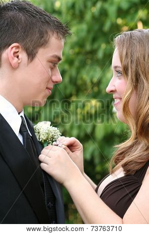 Prom Girl Fixing Date's Flower 2