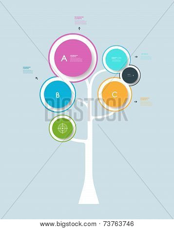 Infographic Circle Label Design With Abstract Tree Growth Tree Concept