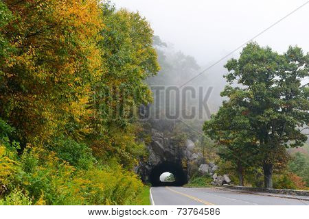Tunnel in foggy Autumn morning in Shenandoah National Park, VA