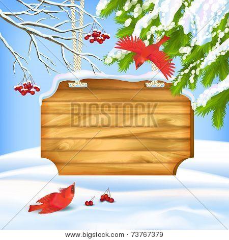Winter Landscape Birds Wooden Board
