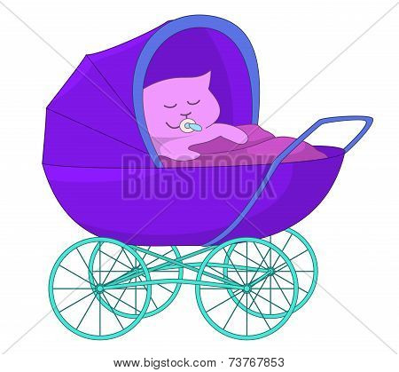 Baby cartoon in the baby carriage