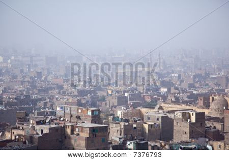 View Over Smoggy Slums Of Cairo