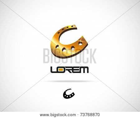 Abstract Horseshoe Vector Logo Design Template
