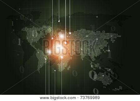 Binary Code Map Dark Digital Background