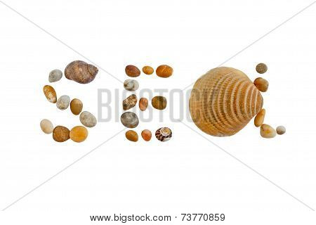Word Sea Made Of Stones And Shells