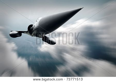 Military airplane at flying on the speed