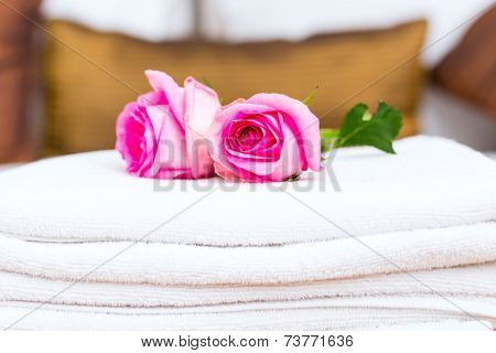Flowers to welcome guest in hotel room