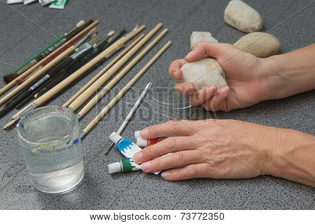 Preparation Of Stone Painting