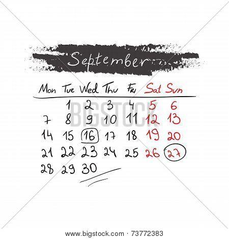 Handdrawn calendar September 2015. Vector.