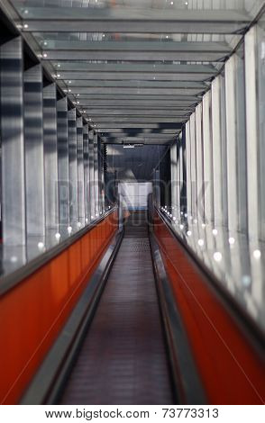 The Tonnel With Escalator Going Down