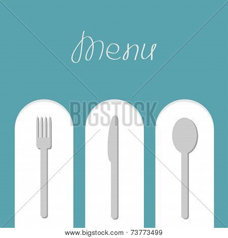 Fork, spoon and knife on white arch. Menu card. Flat design style.